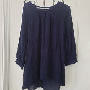 3/$25 Great NW Indigo dark navy boho blouse sz xl